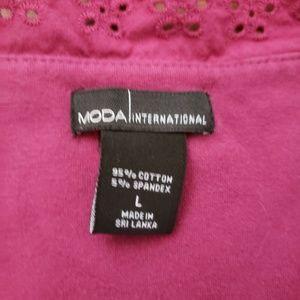 Moda International Tops - Sleeveless eyelet top